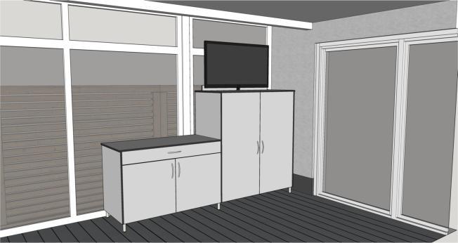 Terrassenschrank mit TV Lift