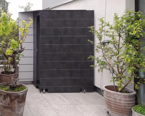 HPL Terrassenschrank auf Rollen mit Dekornuten